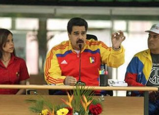 "Nicolas Maduro speaking at the ""Day of Peace and Life"""