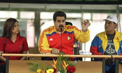 Nicolas Maduro speaking at the