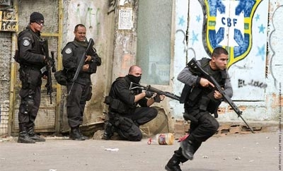 Brazil police during a 'pacification' operation