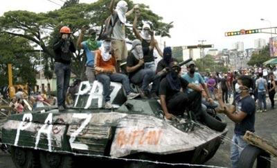 Protesters in San Cristobal, Venezuela