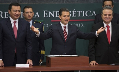 Mexico's President Enrique Peña Nieto celebrates energy reform