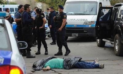 A recent murder scene in Rosario, Argentina