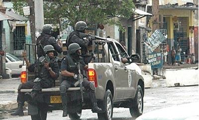 A police patrol in Kingston, Jamaica