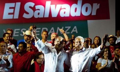 Salvador Sanchez Ceren (right center)