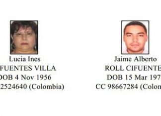 The captured members of the Cifuentes Villa clan