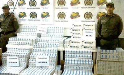Contraband Tabesa cigarettes seized in Colombia