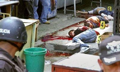 A crime scene in San Pedro Sula, Honduras