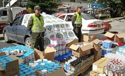 Colombian police show off a contraband haul