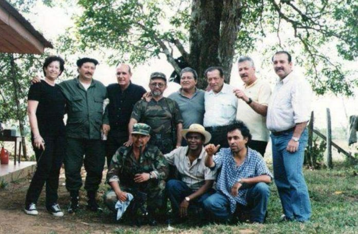 FARC leadership with El Salvador's new president (center)
