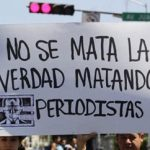 Mexican journalists protesting murders of colleagues