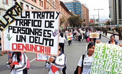 Anti-human trafficking protest in La Paz, Bolivia