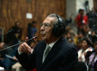 Former dictator Efrain Rios Montt during his trial