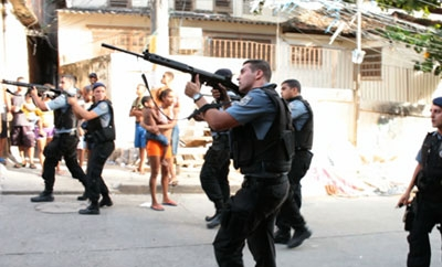Military police storming a favela in Brazil