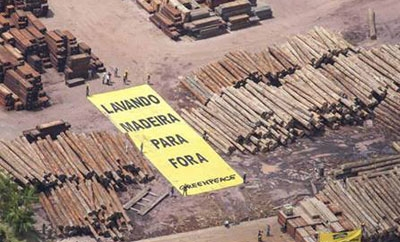 Greenpeace protest timber laundering