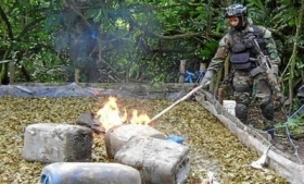 A drug lab destroyed in Venezuela