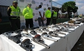 Weapons seized as part of Cali's disarmament program