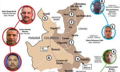 Colombian criminal groups near the Panama border