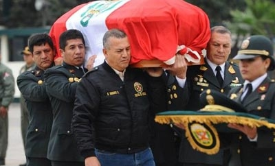 Peru police bury officer killed in Amazon drug patrol