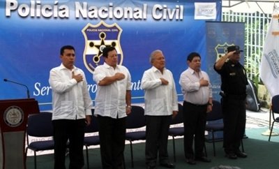 Salvadoran officials during the deployment ceremony