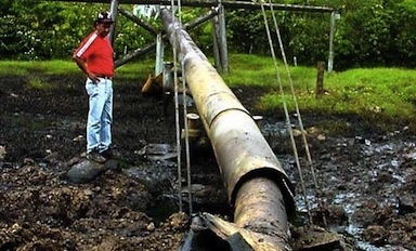 A pipeline attacked by the FARC