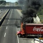 A burned Coca-Cola truck
