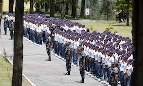 The army reserve soldiers training as prison guards in Honduras