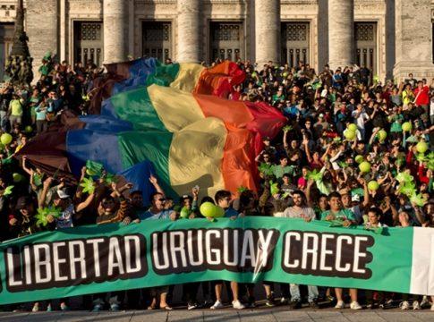 A rally supporting Uruguay's marijuana legislation