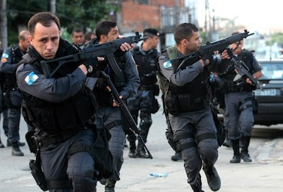 Brazilian police carrying out an operation
