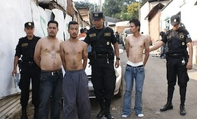 Captured gang members linked to the Barrio 18 in Guatemala