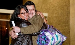 Ariel Martinez celebrating his release from prison