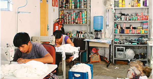 Bolivians working in a Brazilian textile factory