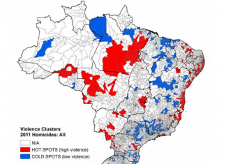 """Map of """"hot"""" and """"cold"""" spots for Brazil homicides"""