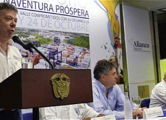 President Juan Manuel Santos in Buenaventura