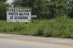 A checkpoint in Tonala, Mexico