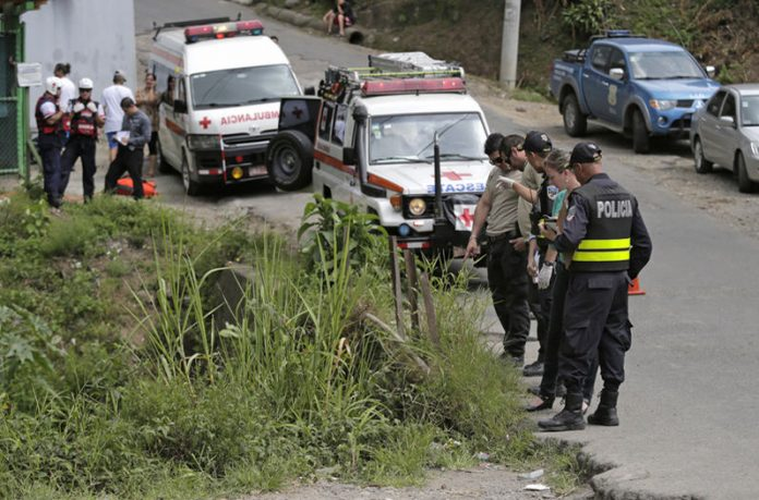 A crime scene in Desamparados, Costa Rica