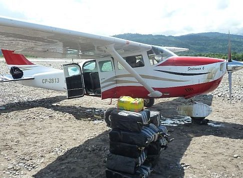 A captured drug plane in Peru