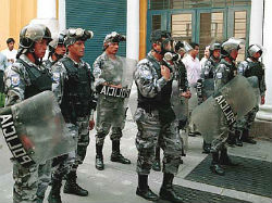 Members of Ecuador's police force