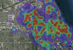 An example of a crime heat map created by PredPol software