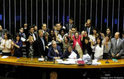 Legislators in Brazil celebrating the new femicide law