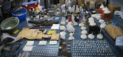 Items seized from a cocaine lab in Argentina