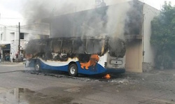 A burned-out bus in Altamira, Tamaulipas