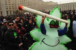 A march in favor of marijuana legalization in Chile