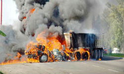 A truck on fire in Jalisco