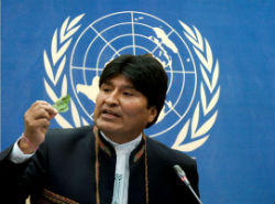Bolivian President Evo Morales with a coca leaf