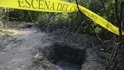 A mass grave discovered in Guerrero, Mexico