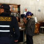 Police at a school in Peru