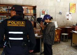 Police at a school in Peru