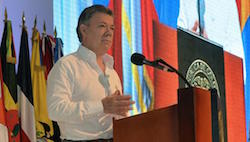 President Santos addresses the conference in Cartagena
