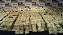 Cash seized by Mexican authorities