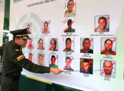 Colombian police identifying members of the Urabeños